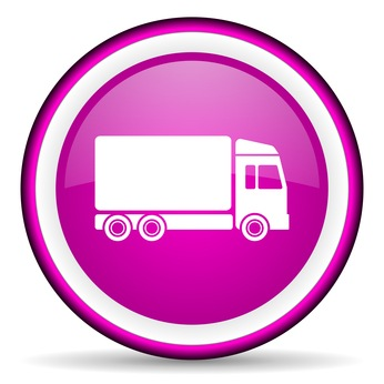 delivery violet glossy icon on white background